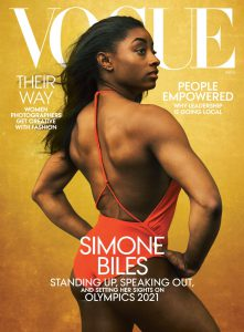 Simone Biles stars in the August 2020 Vogue cover.
