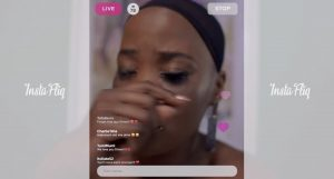 Dineo has a breakdown on a livestream.